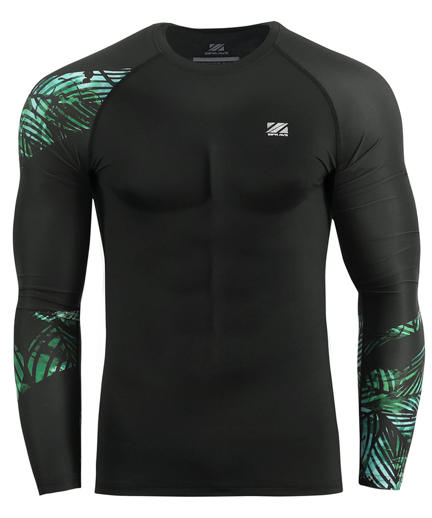 leaf pattern bjj compression rash guard tee