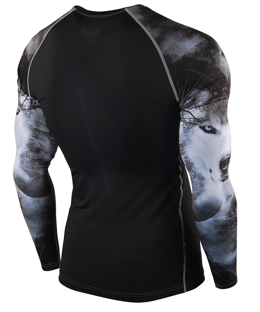 wolf design compression longsleeve