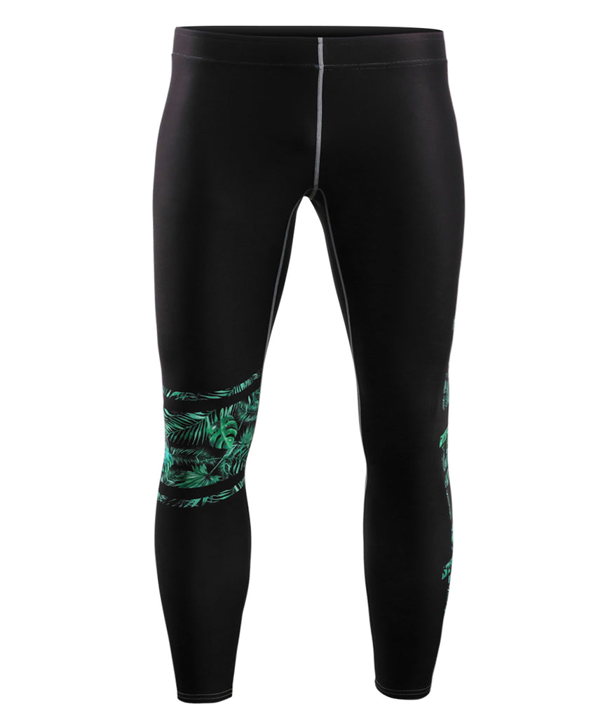 leaf pattern and lettering with black background compression pants for weightlifting or summer leggings