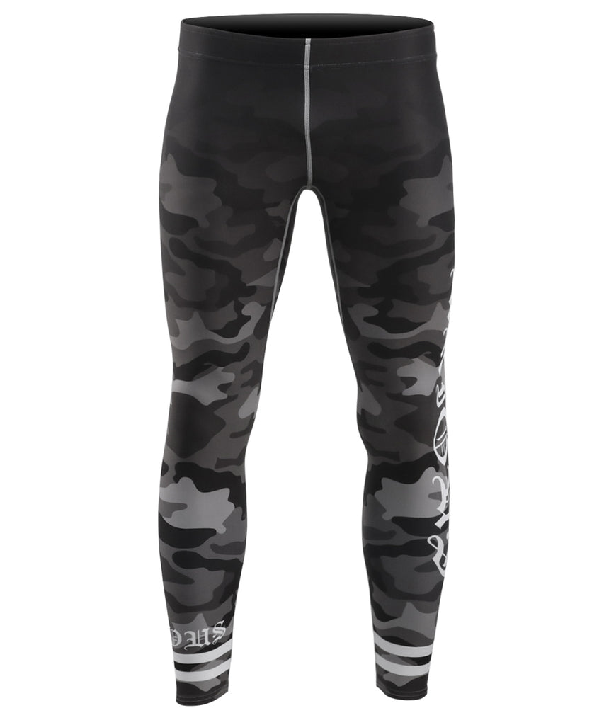 Black&gray camo rash guard tights