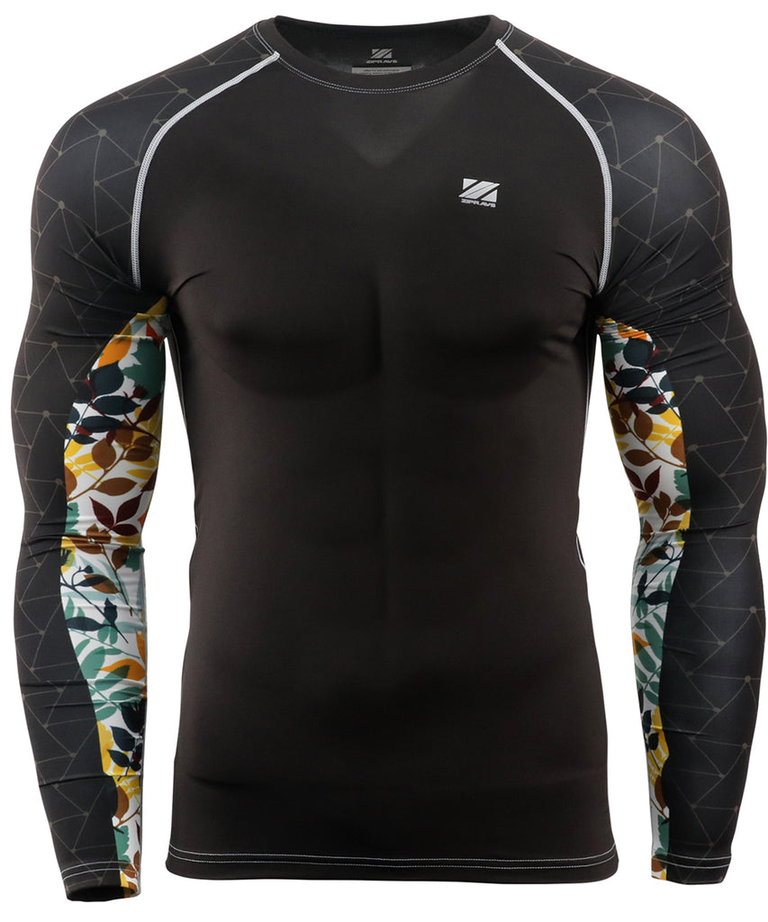 colorful leaf compression longsleeve