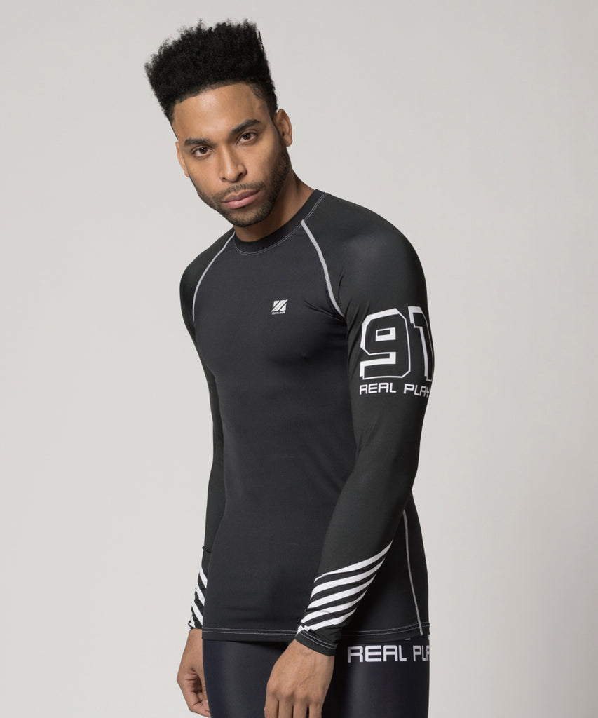 "white stripe&big size number""91"" compression shirt"