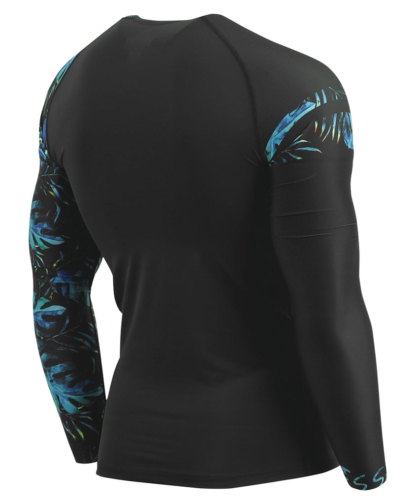 Compression T-shirt long sleeve is blue leaf pattern design
