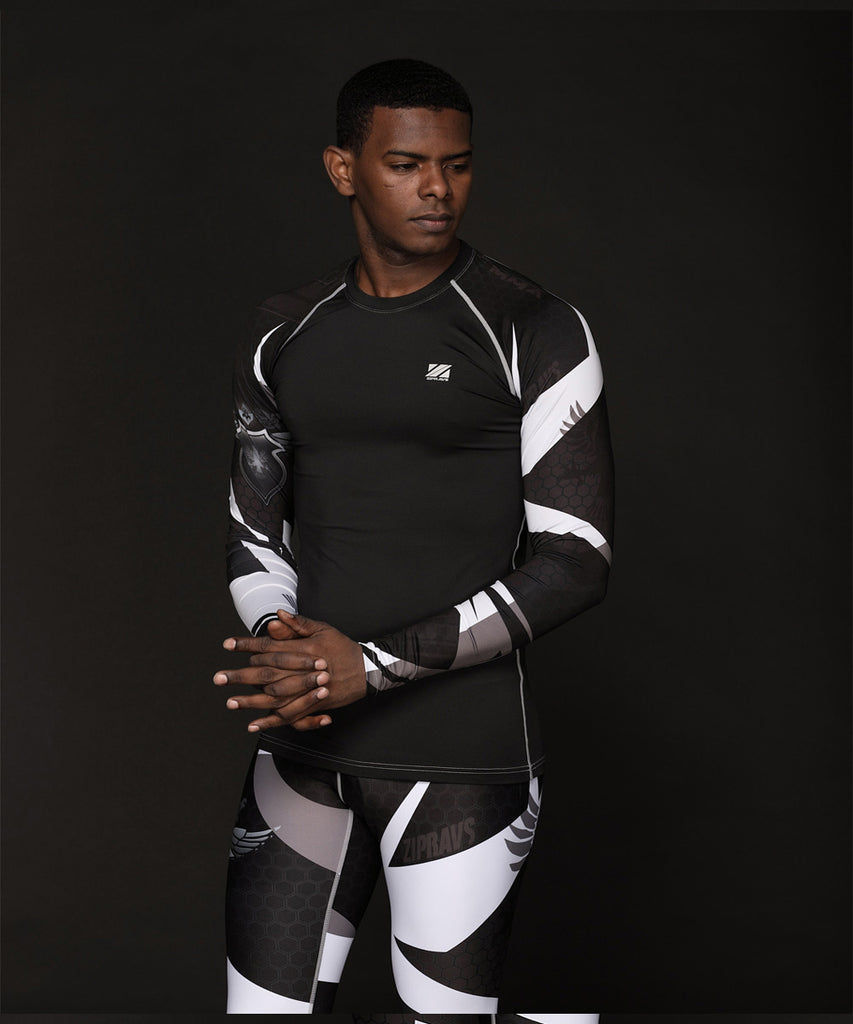 black&white color longsleeve t shirt for sports