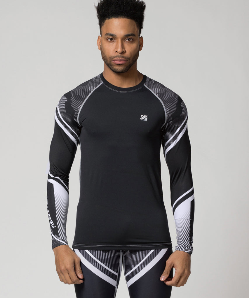 Compression longsleeve shirt line camo pattern with white stripe