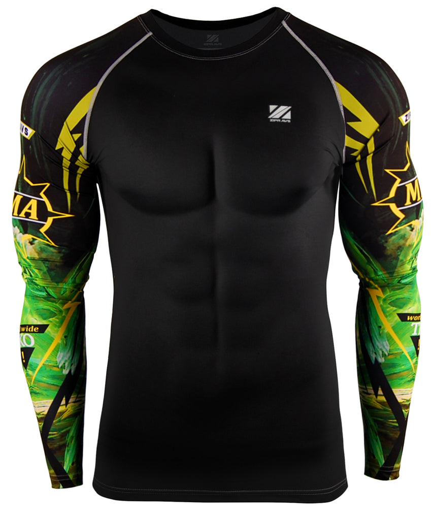 mma text compression green long sleeve