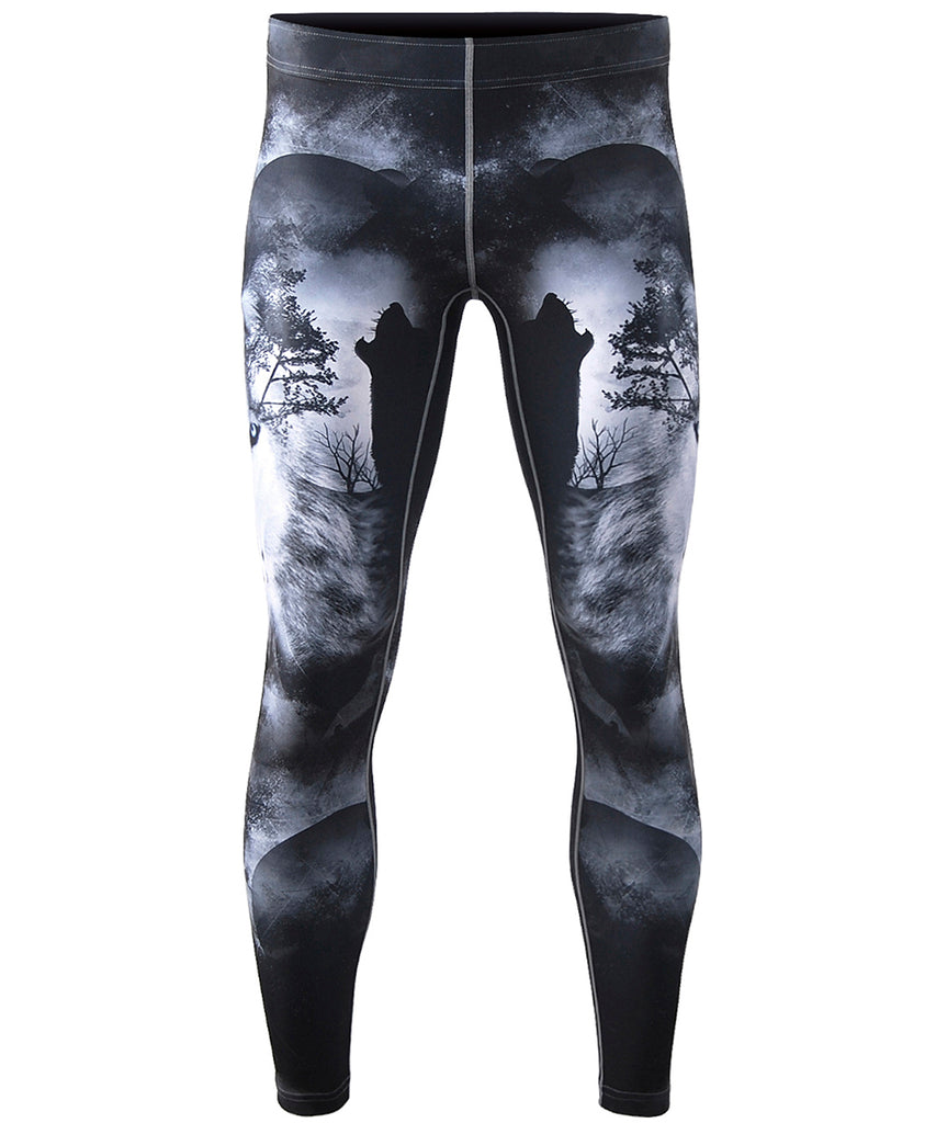 wolf design compression pants
