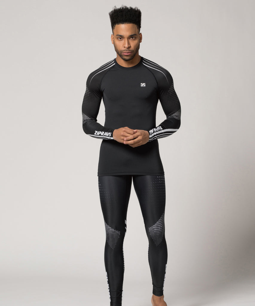quick dry black compression shirt white line&dot