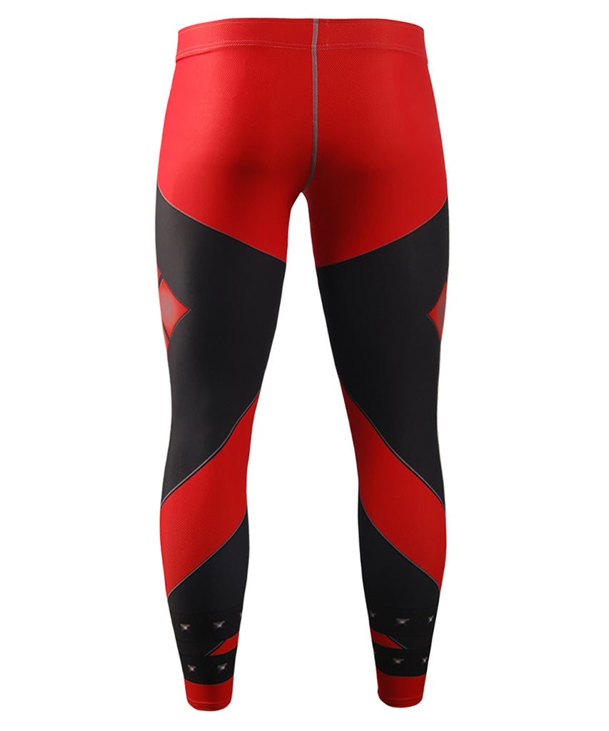 Red performance compression tights