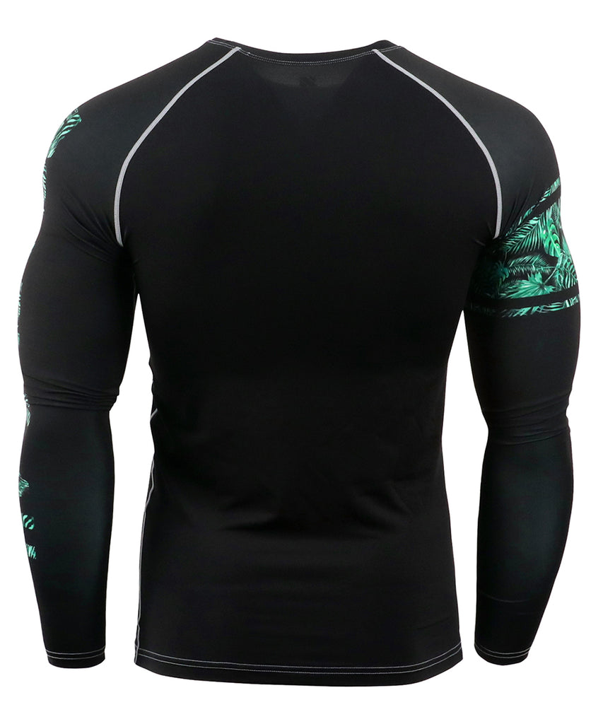 workout compression long sleeve was engraved with leaf pattern lettering