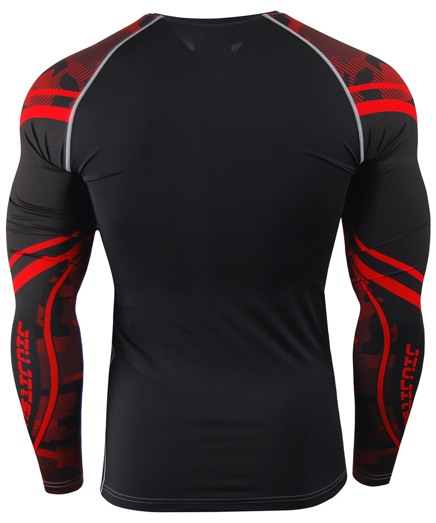 red compression long sleeves BJJ MMA