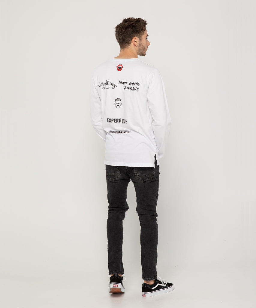 white long sleeve lettering back design