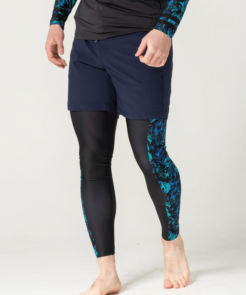 Summer black&blue compression leggings pants
