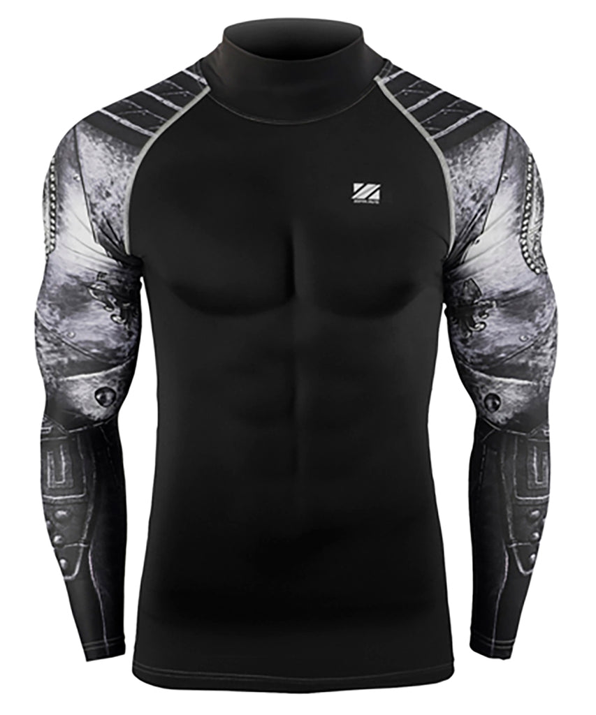 gray compression mock neck long sleeve rashguard