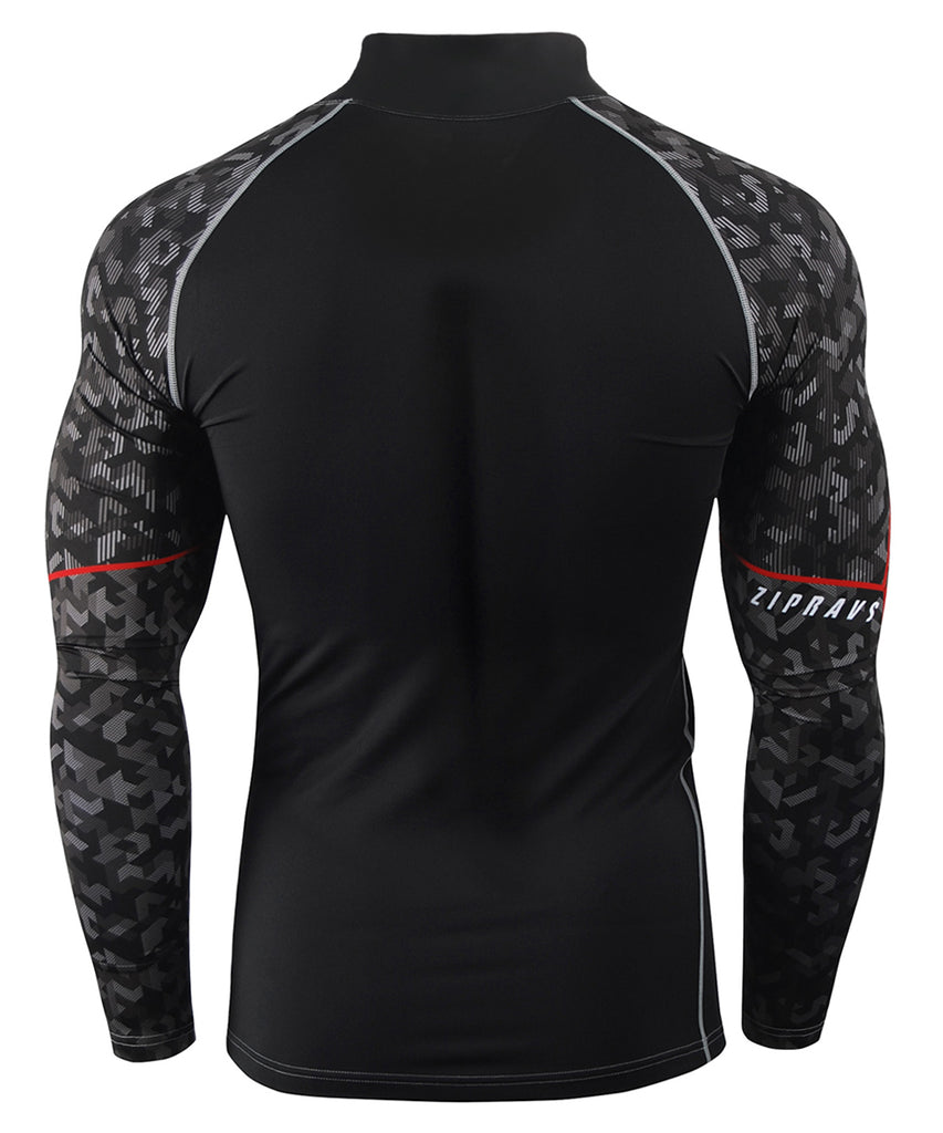 black camo pattern mock neck shirts rash guard