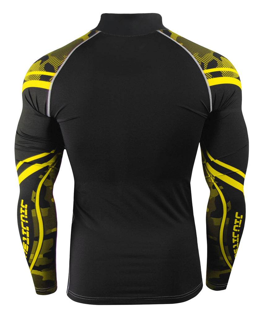 yellow camo pattern mock neck long sleeve compression shirts