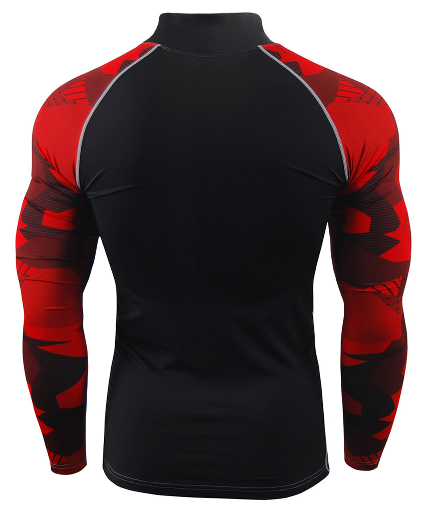 red pattern compression mock neck long sleeve rash guard