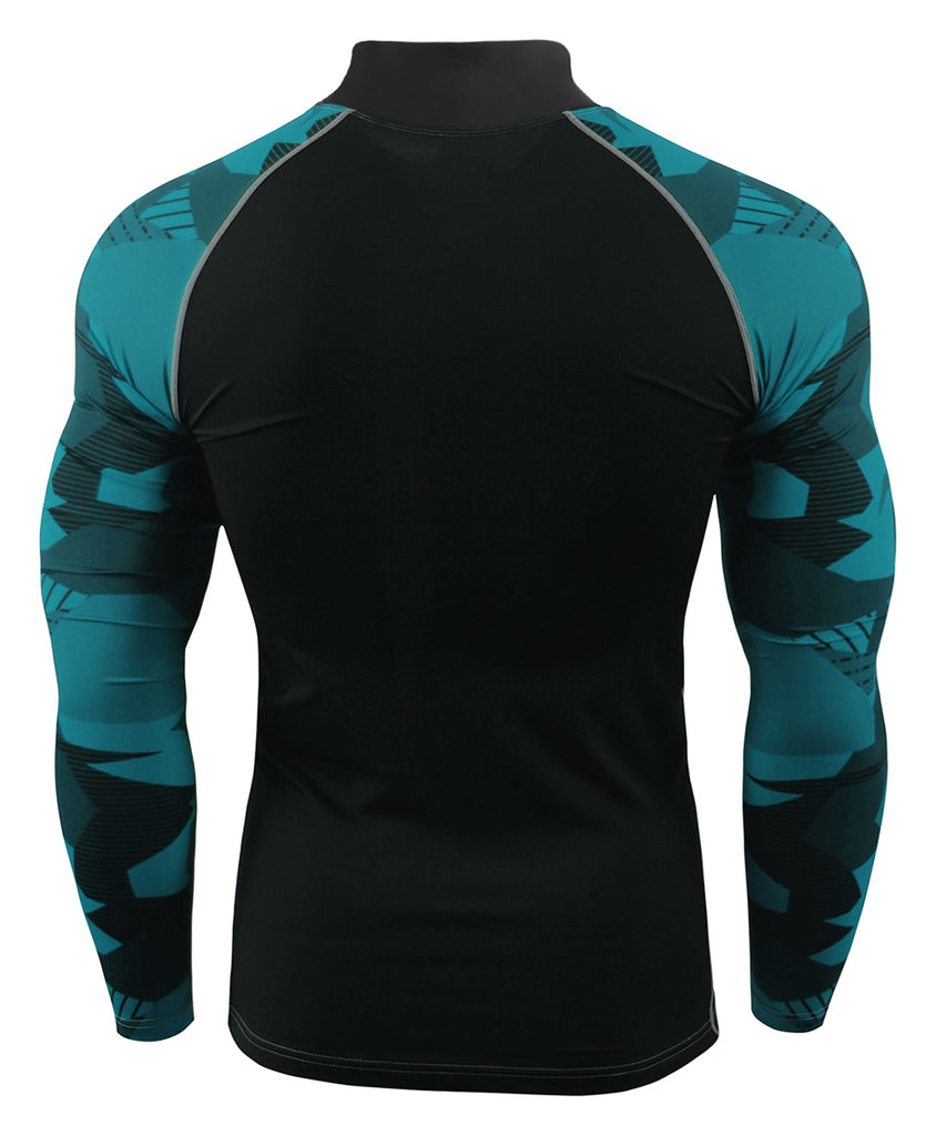 blue camo pattern compression rashguard