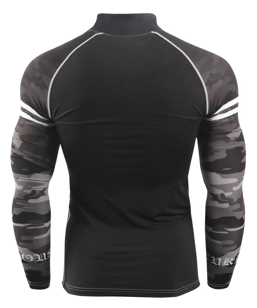 black camo pattern compression fit mock neck rashguard