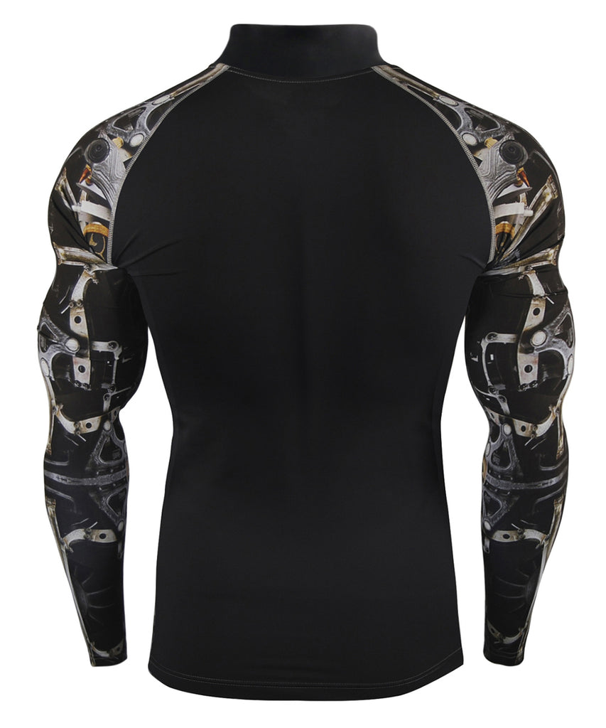 black machine design compression mock neck long sleeve