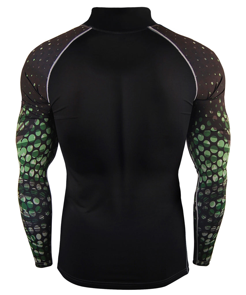 green compression mock neck long sleeve rashgaud