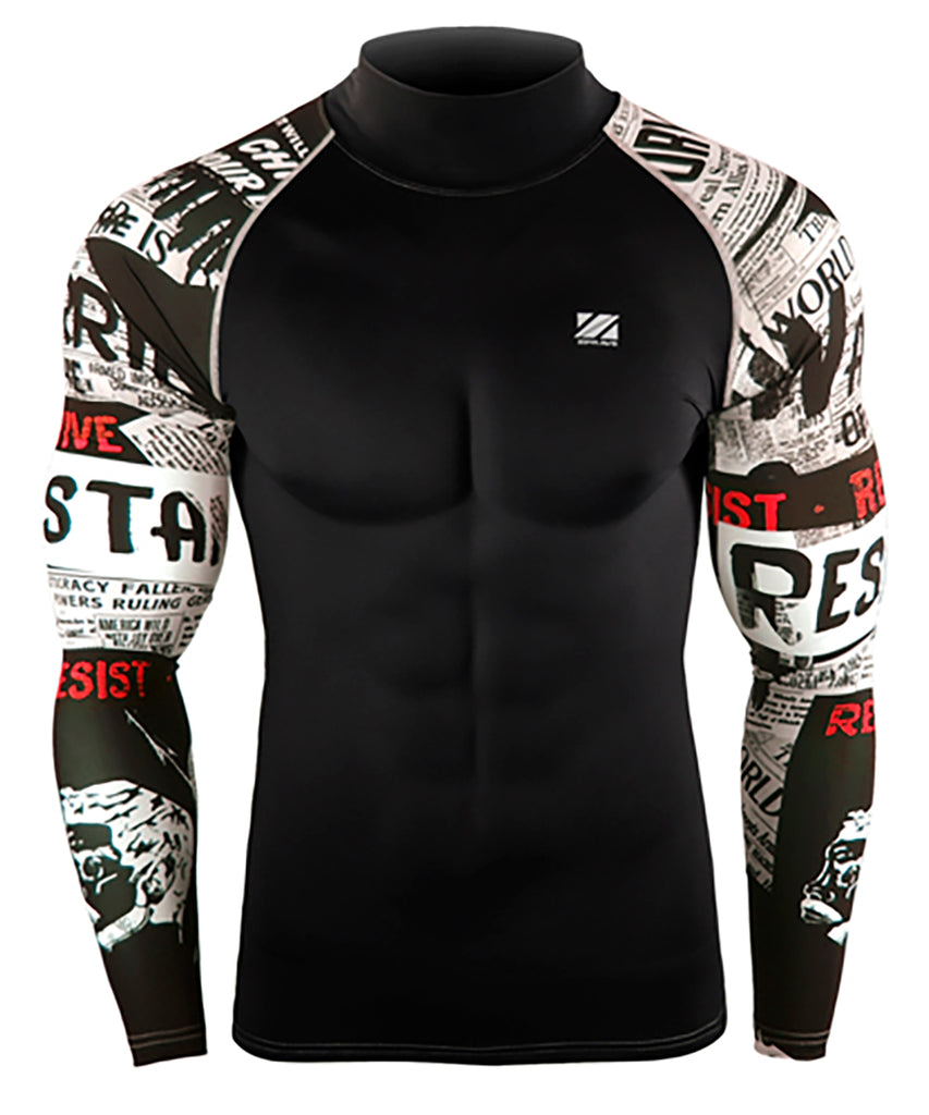 white compression tight fit rash guard