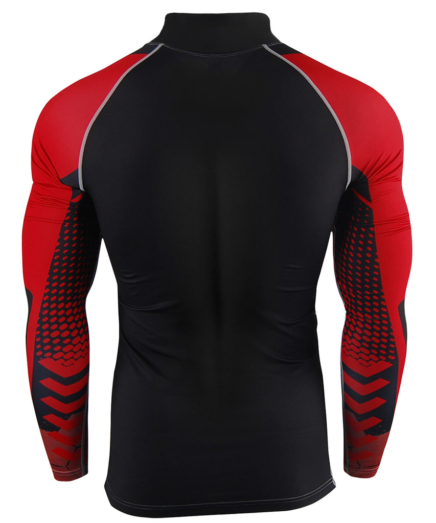 red compression tight fit rash guard