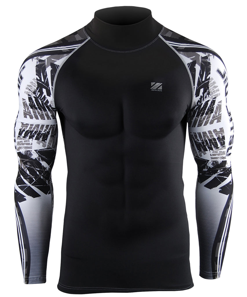 white compression camo pattern long sleeve rash guard