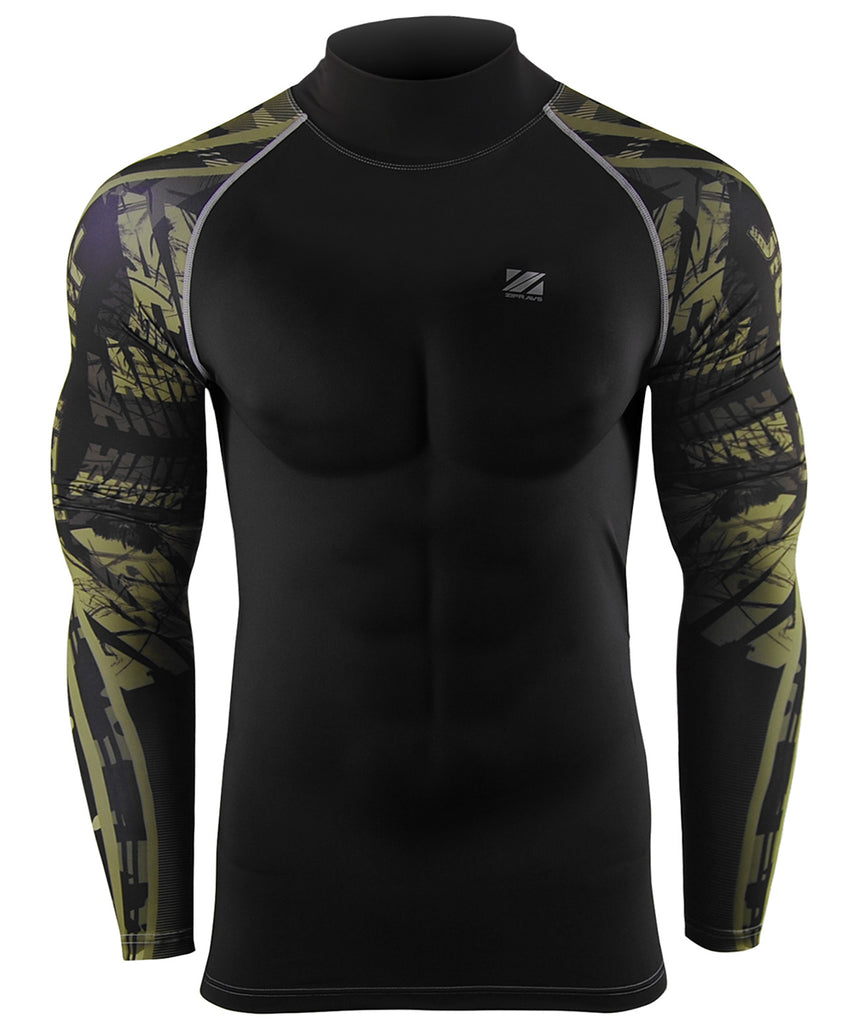 green camo pattern mock neck compression shirts