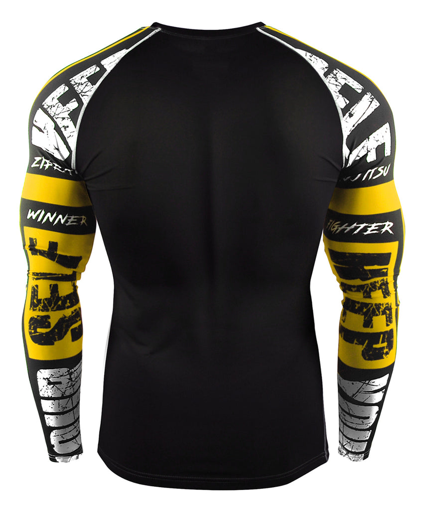 yellow activewear bjj mma compression rashguard