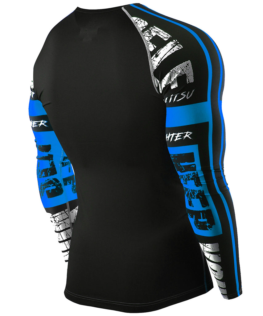 blue compression tight fit long sleeve rashguard