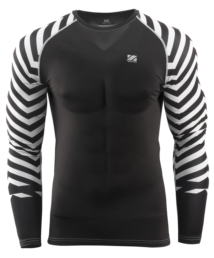 White&Black Stripe Compression Fit