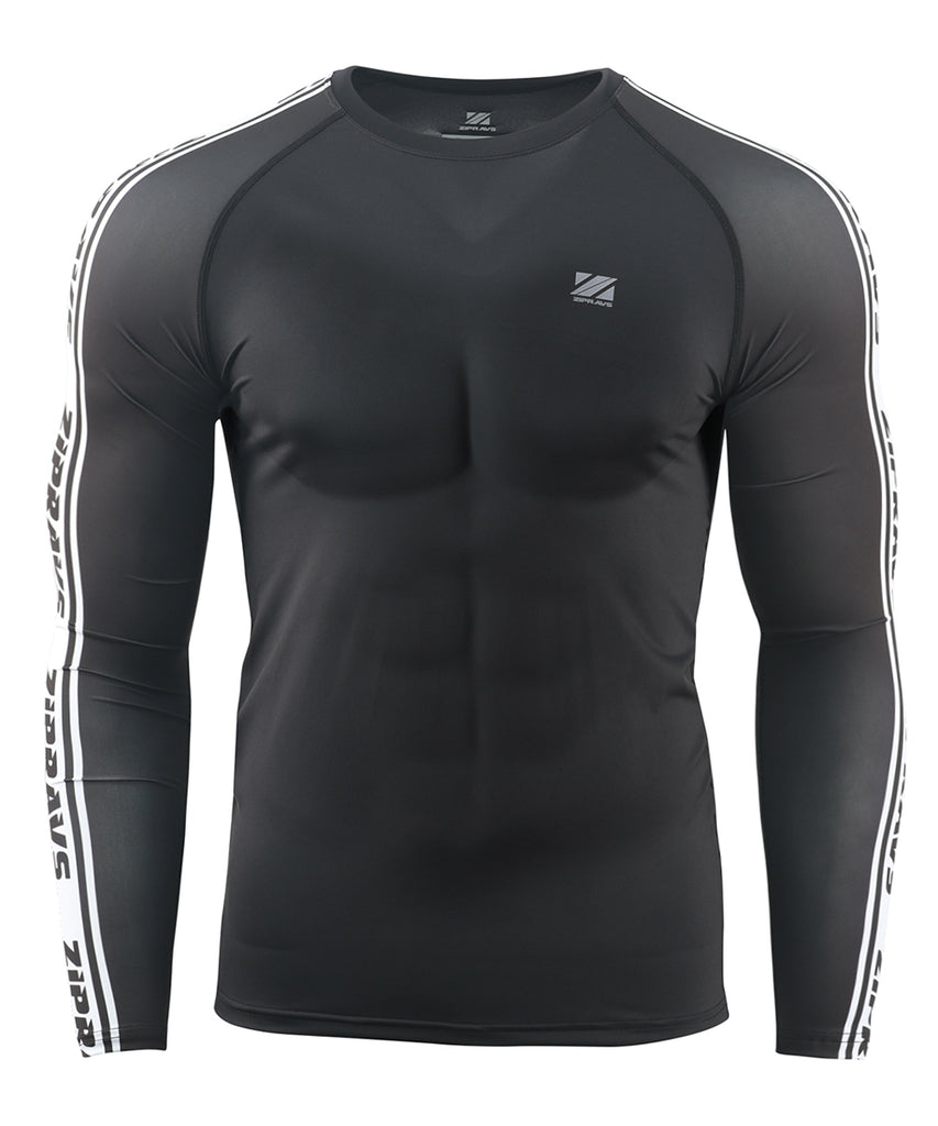 black compression fit long sleeve rash guard