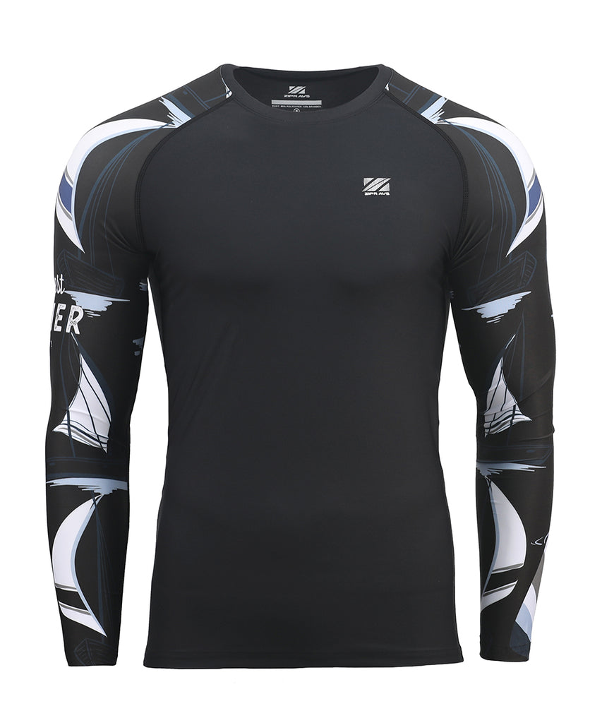 black compression fit summer yacht design rashguard