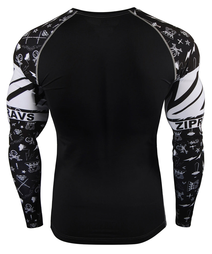 Illustrated Design Black&White Tight Fit Long Sleeve