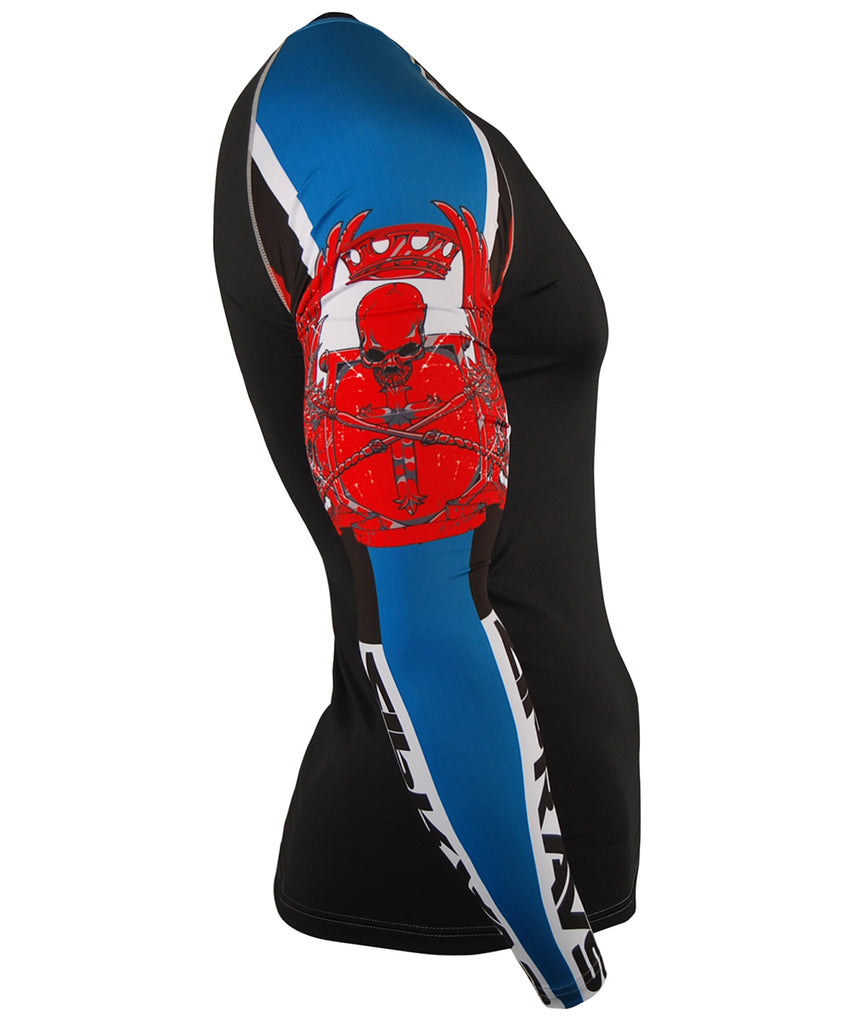 Blue Red White Line BJJ Compression Top