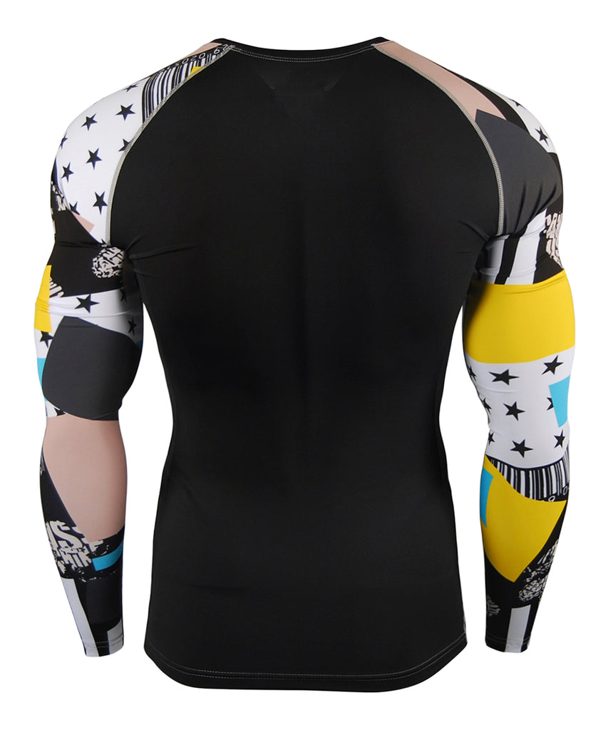 Colorful Pattern Compression Long Sleeve