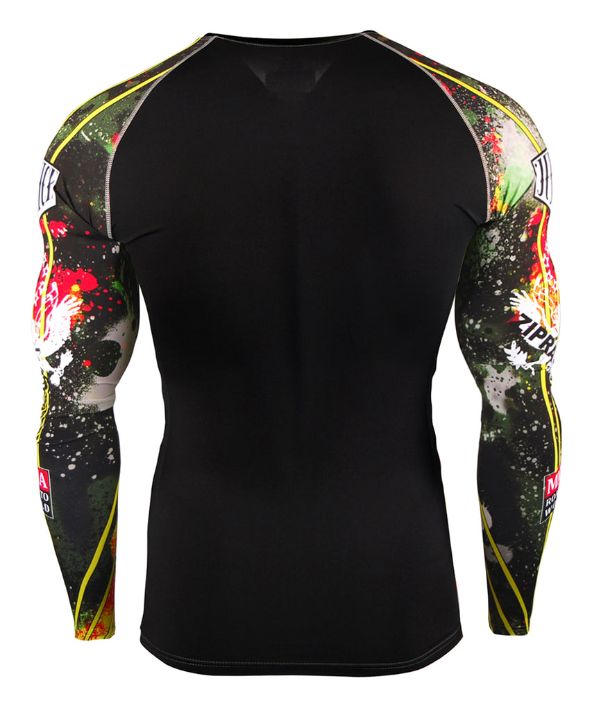 yellow Line&Paints Spray Design Compression Top
