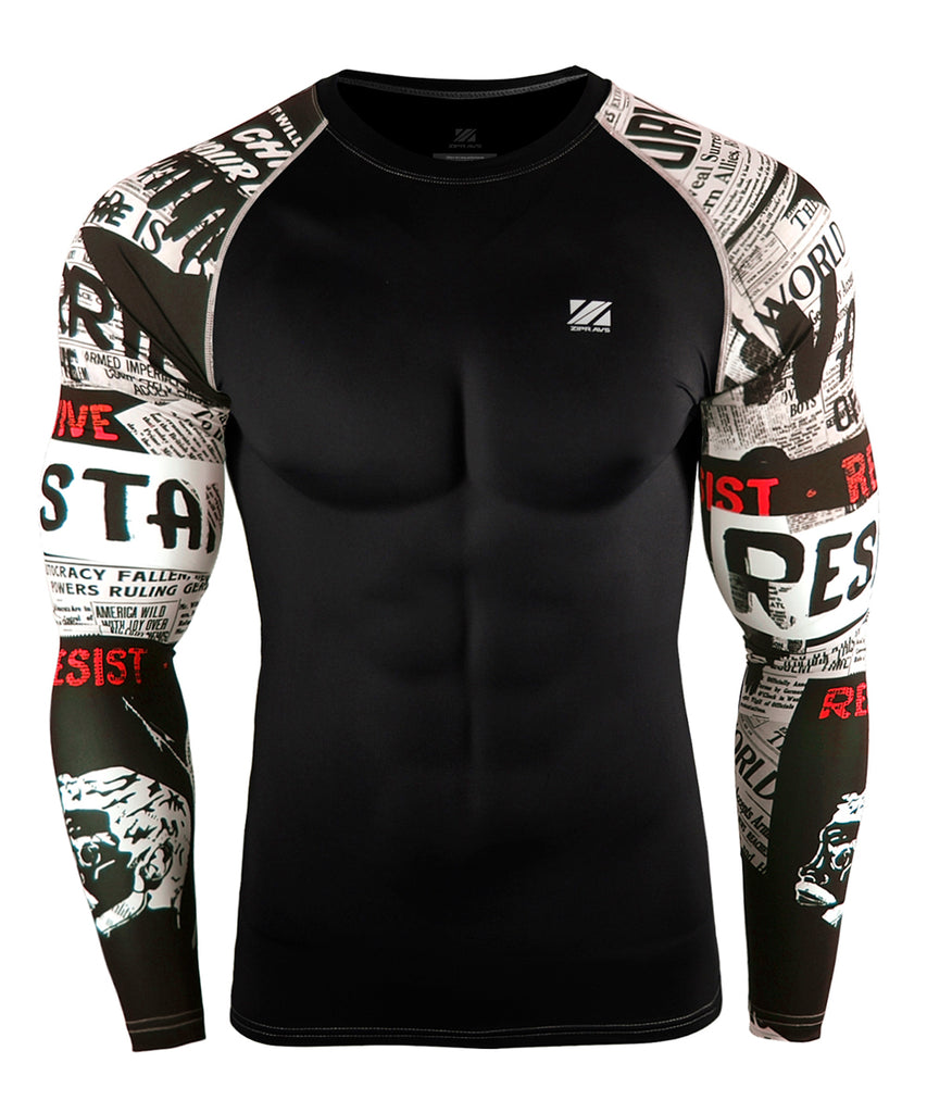 white&point red design compression rashguard