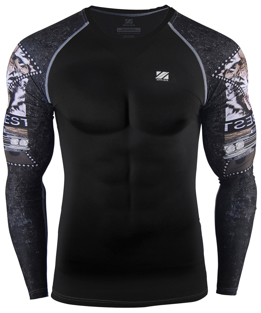 Tiger Design Compression Gear Mens Top
