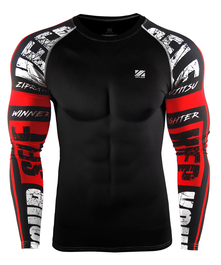 red compression gymwear long sleeve