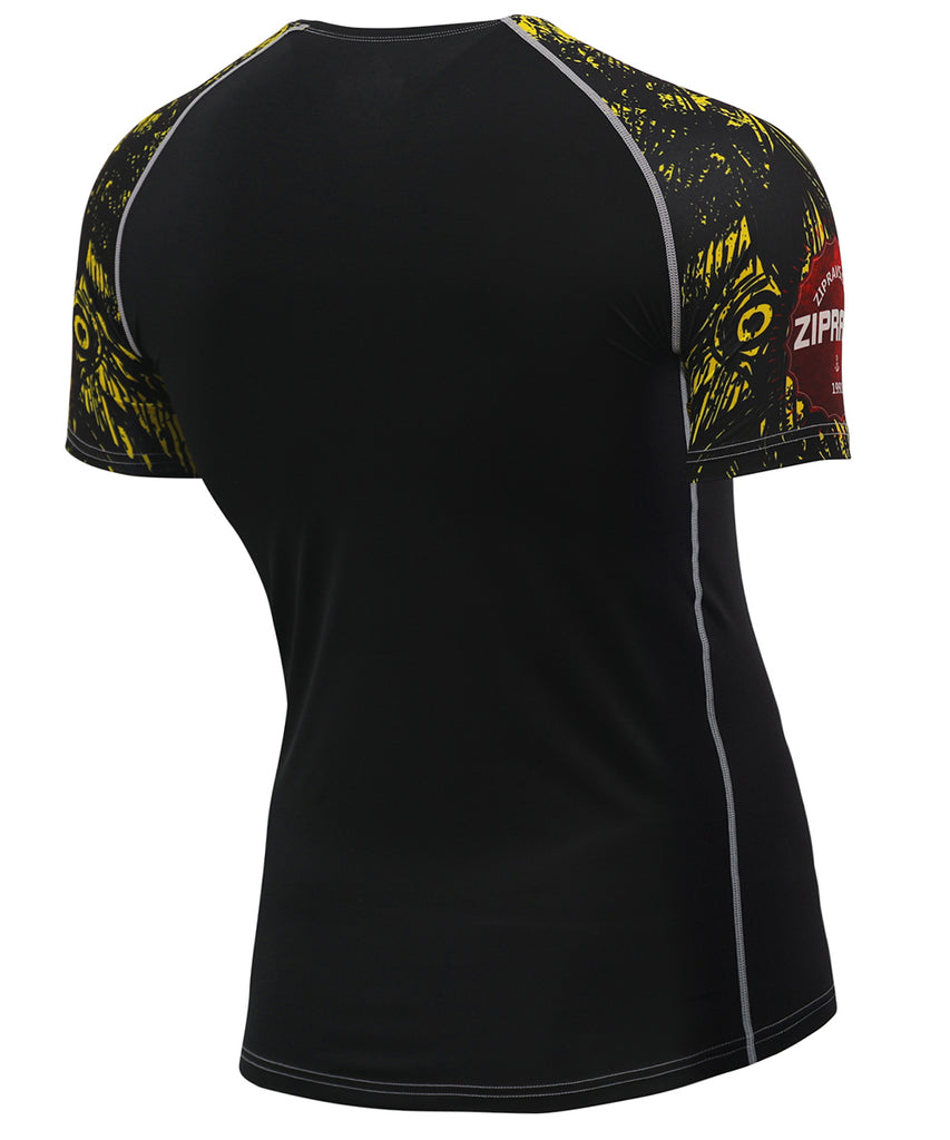 yellow compression short sleeve rash guard