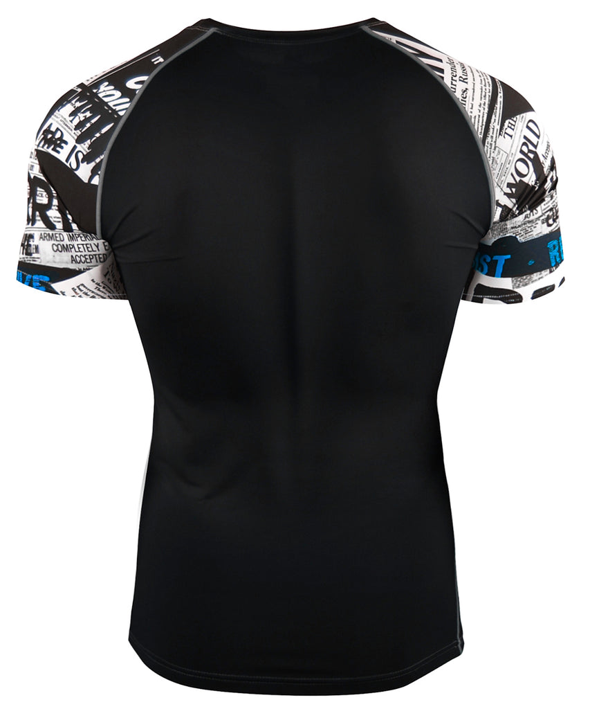 white compression quick dry short sleeve rashguard