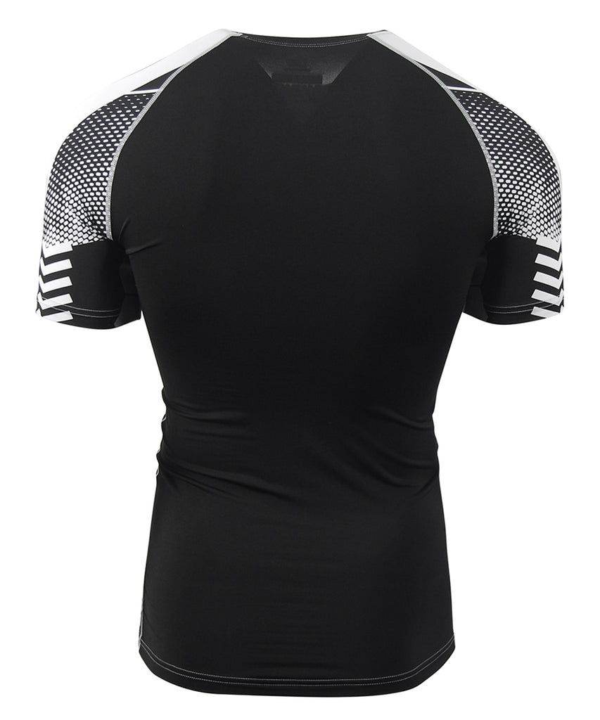 white&gray compression short sleeve rashguard