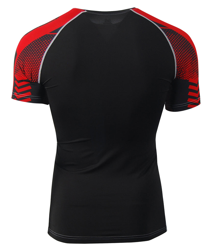 red quick dry compression short sleeve