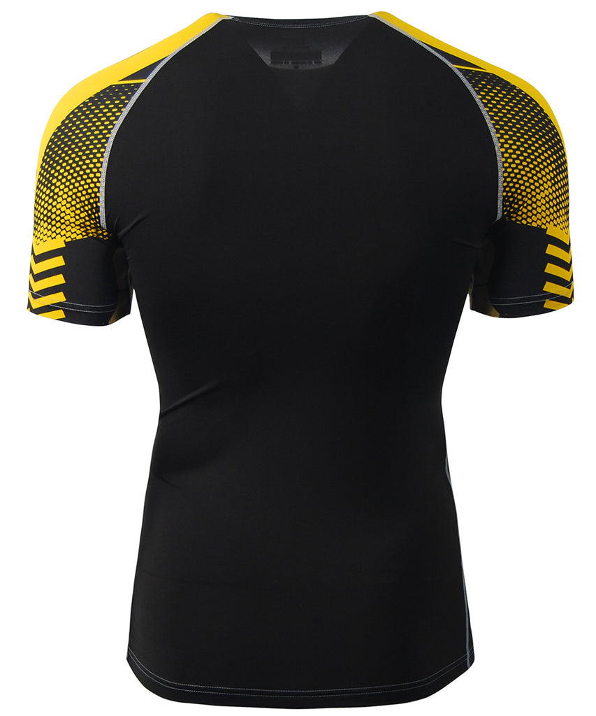 yellow line design compression rash guard