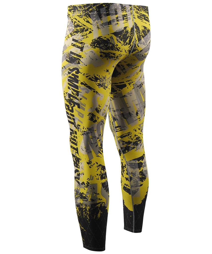 Letter Design Jiu Jit Su Yellow Tight Pants
