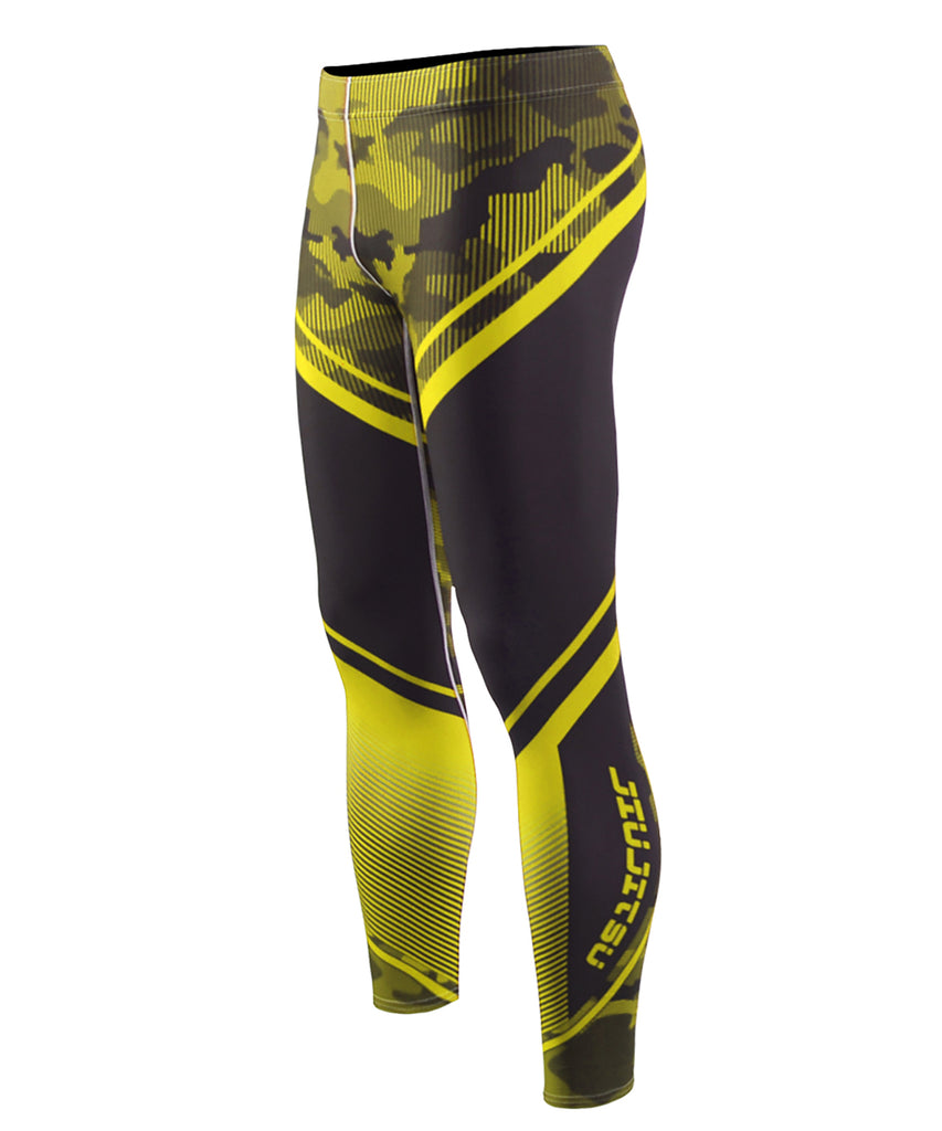 Yellow Camo Pattern Compression Pants