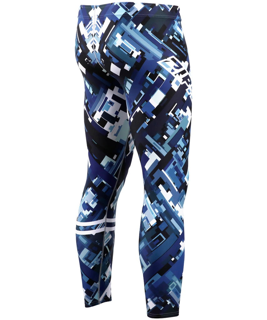 Blue Pieces Pattern Design Tight Pants