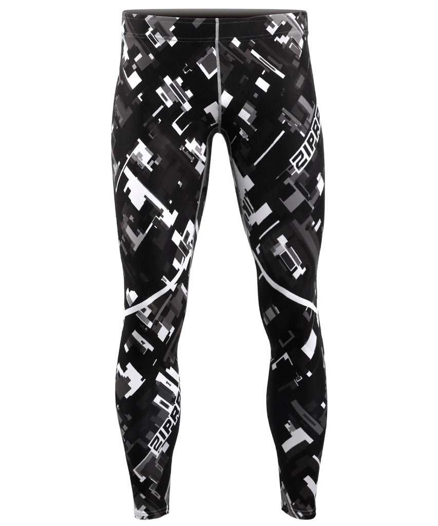 Gray Pieces Pattern Design Tight Pants